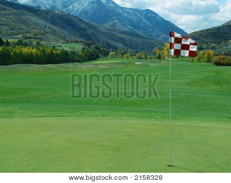 Golf Flag In Mountains