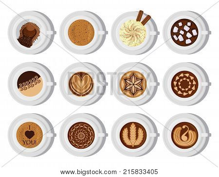 Different types of coffee chocolate cocoa cups top view. Perfect for menu assortment top view collection vector illustration. Aroma fresh black cappuccino with foam