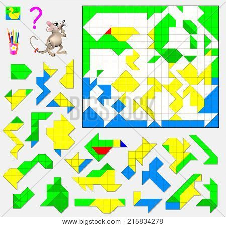 Logic puzzle game. Need to find the correct place for each detail and paint them in corresponding colors.