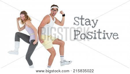 Digital composite of Stay positive text and fitness couple