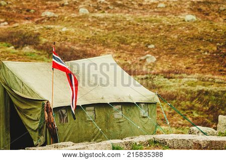 Big old tent in Haukeli mountains in summer time place for travellers rest Norway