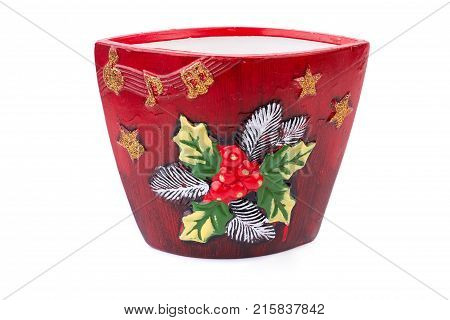 Plant pot isolated on white background. Beautiful red handmade pottery flower pot isolated on white background. Fashion design plant pot. Handicraft pot for flowers.