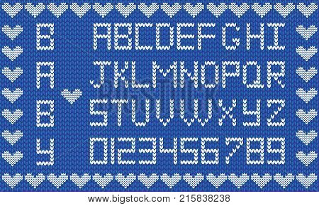Baby fabric script for boy. Cute knitted abc alphabet, knitting pattern, boy light blue fabric background framed with little hearts. Useful for cards, invitations, design.