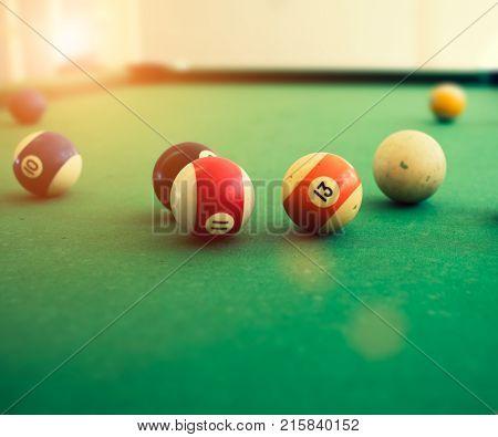 Pool balls on pool table;