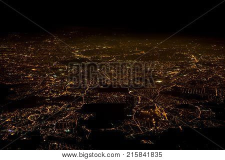 PARIS - MARCH 15, 2017 : City lights of Paris at night Aerial View