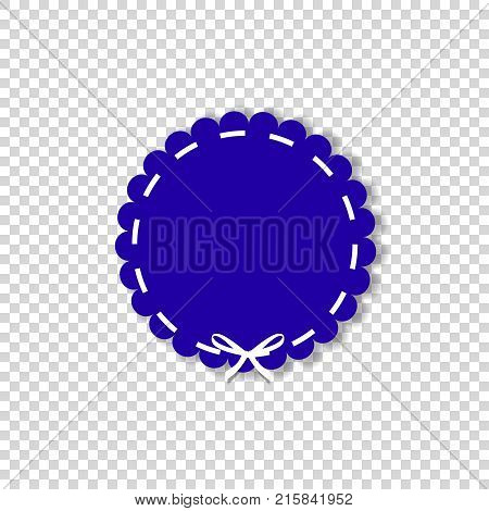 Dark blue circle stamp with white ribbon. Vector icon in paper cut out style with space for text isolated on transparent background. Emblem, label, clip art.