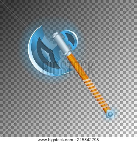 Warrior hatchet icon. Shiny medieval weapon for computer game design. Fight decoration, fantasy battle vector illustration isolated on transparent background.