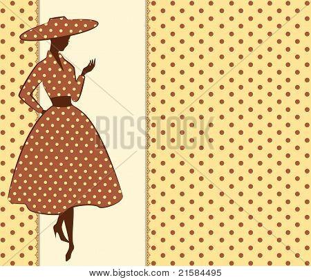 Vintage beautiful silhouette of girl