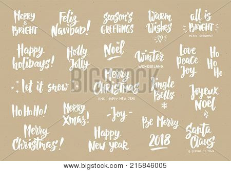 Set of holiday greeting quotes and wishes. Hand drawn text, brush lettering. Merry Christmas, Happy New year, Happy Holidays etc. Great for cards, gift tags and labels, photo overlays, party posters.