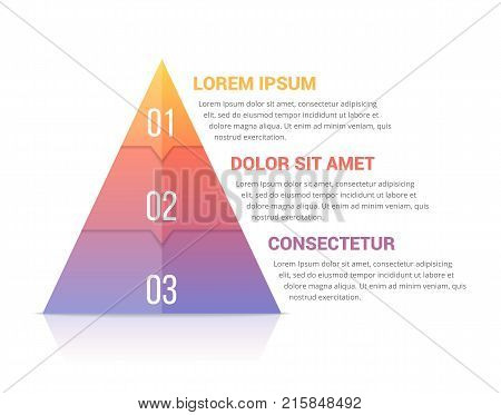 Pyramid infographic template with three elements, soft gradint colors, vector eps10 illustration