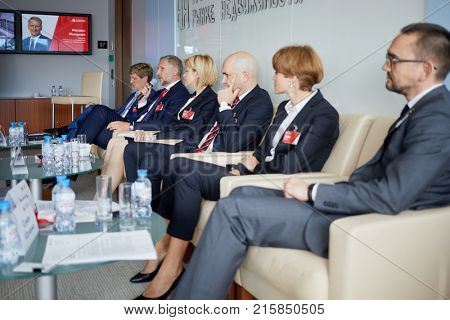 MOSCOW, RUSSIA - SEP 20, 2017: Employees of Cushman and Wakefield during press-breakfast for representatives of business and profile media about commercial real estate market in 2018.