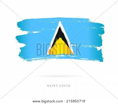 Flag of Saint Lucia. Vector illustration on white background. Beautiful brush strokes. Abstract concept. Elements for design.