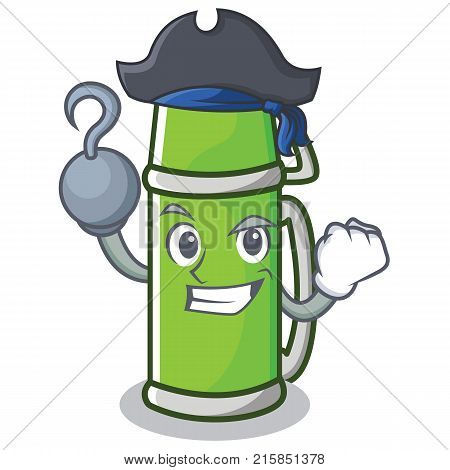 Pirate thermos character cartoon style vector illustration