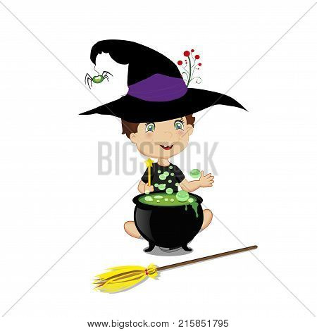Vector illustration of cute  little wizard boy in halloween costume with boiling cauldron, wand and broom isolated on white background.