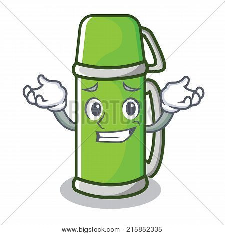 Grinning thermos character cartoon style vector illustration poster