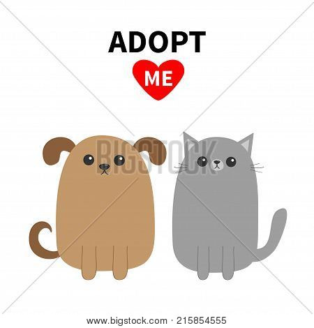 Adopt me. Dont buy. Dog Cat Pet adoption. Puppy pooch kitty cat. Red heart. Cute cartoon character set. Flat design. Help homeless animal concept. White background. Isolated. Vector illustration