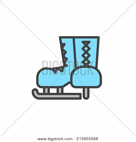 Ice skates filled outline icon, line vector sign, linear colorful pictogram isolated on white. Skates for ice skating symbol, logo illustration. Pixel perfect vector graphics