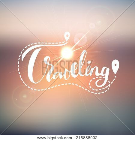 Summer and travel blurred background for traveling design with sun glares and travel lettering, summer travel pattern.