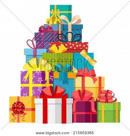 Big pile of colorful wrapped gift boxes. Mountain gifts. Gift box icon. Christmas gift box. Vector illustration in a flat style