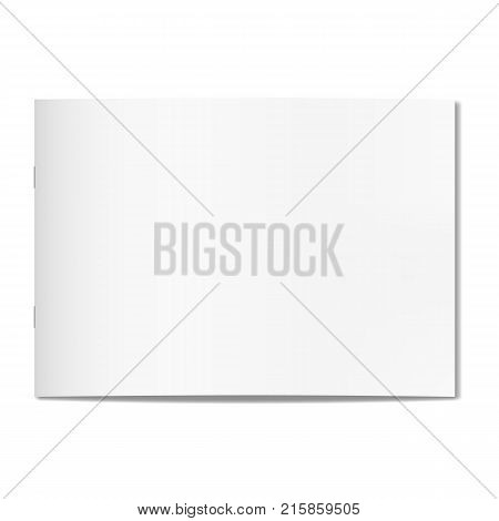 Vector thin horizontal realistic closed book journal or magazine cover mockup with sheet of A4. Blank front or cover page of sketchbook or notepad on staples template for catalog brochure design