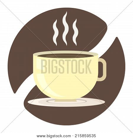 Yellow cup of coffee with smoke on white ceramic saucer on brown coffee bean background. Tea chocolate or cocoa party symbol for cafe or restaurant advertisement web design