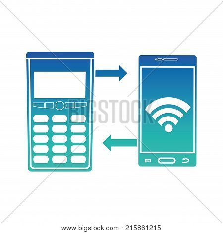 Dataphone and smartphone of shopping commerce and market theme Isolated design Vector illustration