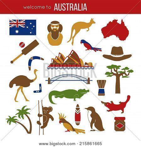 Set Australia Culture Symbols Vector Photo Bigstock
