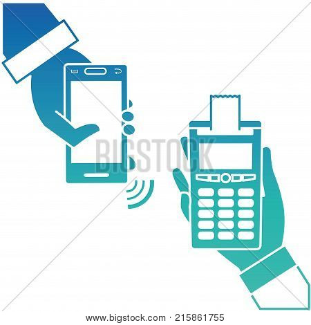 Smartphone and dataphone of shopping commerce and market theme Isolated design Vector illustration