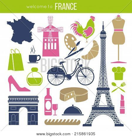 France sightseeing landmarks and famous vector travel attractions poster. Vector icons of French map and flag, Eiffel Tower and baguette, Paris Triumphal arch, Louvre and cheese or fashion perfume