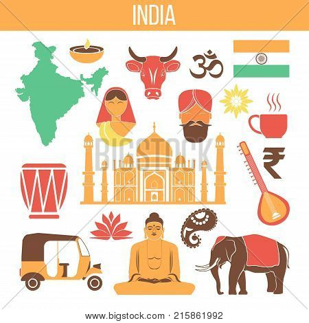 India travel famous landmarks and tourist culture symbols. Indian flag, Taj Mahal or Lotus temple and Ganesha elephant, Hindu goddess, traditional food and henna hand. Vector isolated icons set