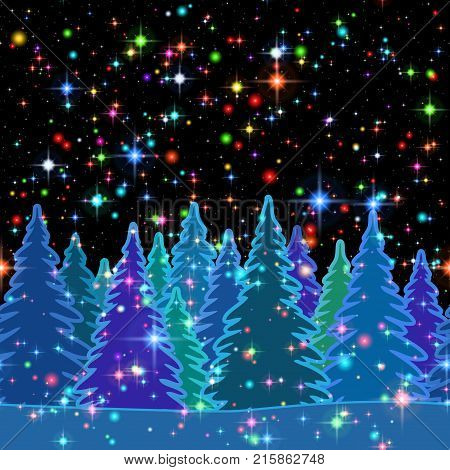 Christmas Horizontal Seamless Background, Magic Landscape with Colorful Fir Trees and Bright Stars on Dark Black Sky, Winter Holiday Illustration. Eps10, Contains Transparencies. Vector