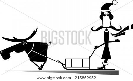 Santa, reindeer and sledge isolated. Funny Santa drives in a sledge harnessed with reindeer