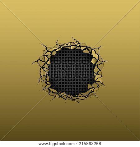Broken golden metal background. Texture with hole, cracks and broken pieces