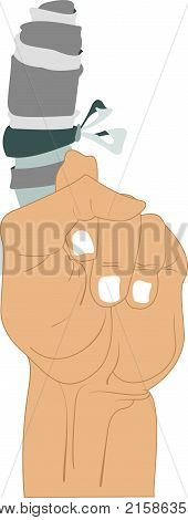 Hand with injured bandage finger isolated. Hand with injured bandage finger illustration