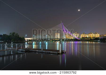View of the Seri Wawasan Bridge at night. Putrajaya Kuala Lumpur, Malaysia.
