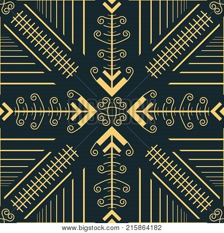 Abstract seamless geometric pattern of convergent arrow shapes with openwork elements. Graceful vector tracery in golden color