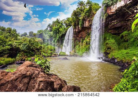Two fairy powerful waterfalls from Iguazu Falls in Argentina. The Andean condors are circling in the sky above the water. The concept of extreme and ecological tourism