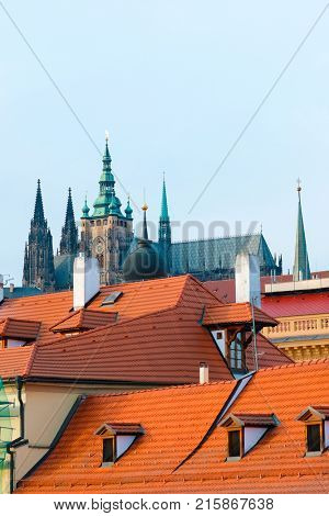 Prague, Czechia - November, 23, 2017: view to St. Vita cathedral in Prague