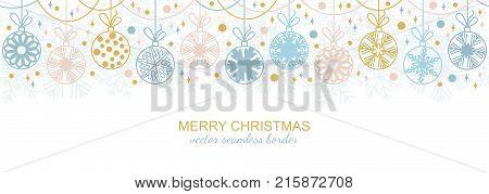 Seamless snowflake border decoration isolated on white background, Christmas design. illustration, merry xmas flake header or banner, wallpaper or backdrop decor