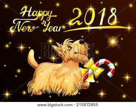 Card the cute puppy yellow Scottish Terrier with candy Cane, gold stars and letters Happy New Year 2018. Colorfull dog, vector cartoon illustration on black background, horizontal.