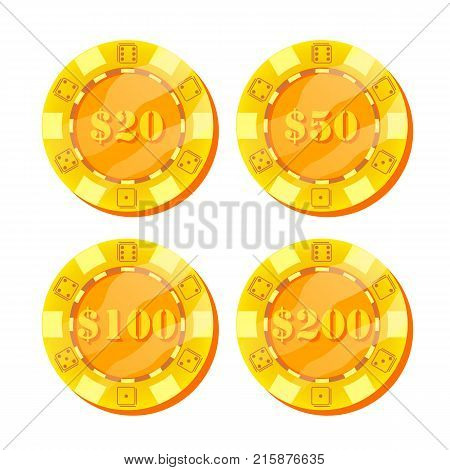 Poker Chips Vector. Flat, Cartoon Set. 20, 50, 100, 200 Dollar Sign. Game Money. Gold Poker Game Chips Sign Isolated On White Background. Casino Gambling Chips