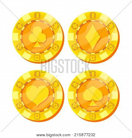 Poker Chips Vector. Card Suits Sign. Flat, Cartoon Set. Game Money. Gold Poker Game Chips Sign Isolated On White Background. Casino Gambling Chips