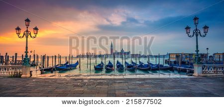Venice Panorama. Panoramic cityscape image of Venice, Italy during sunrise.