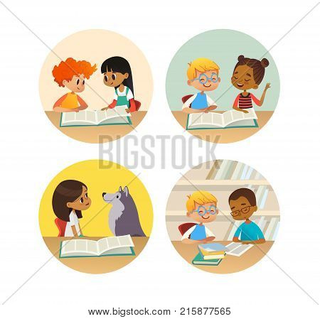 Collection of smiling children reading books and talking to each other at school library. Set of school kids discussing literature in round frames. Cartoon vector illustration for banner, poster