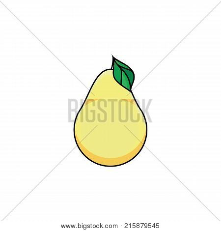 vector flat sketch style yellow fresh ripe pear. Isolated illustration on a white background. Healthy vegetarian eating, dieting and lifestyle design object.