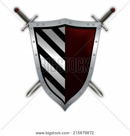 Silver riveted shield with two swords. Isolated on white background.