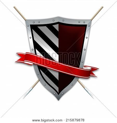 Silver riveted shield with red ribbon and two spears. Isolated on white background.