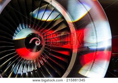 Engine Of The Plane With Blades Is Illuminated With Light Of Disco, The Party Shines Of Soffits.