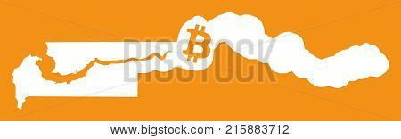 Gambia Map With Bitcoin Crypto Currency Symbol Illustration