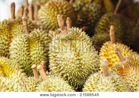 image of Durians at market in thailand poster